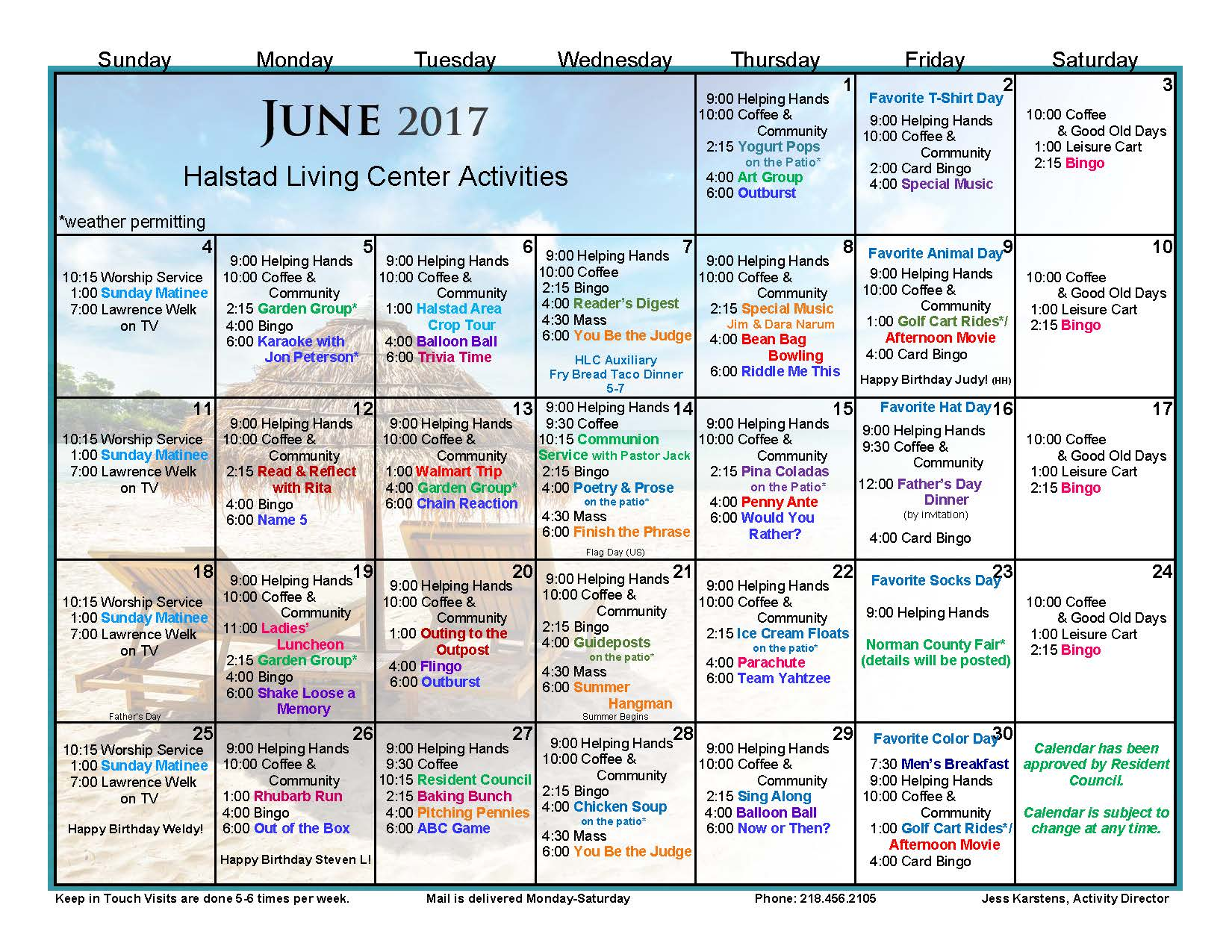 June Calendar Events : Halstad lutheran living center events