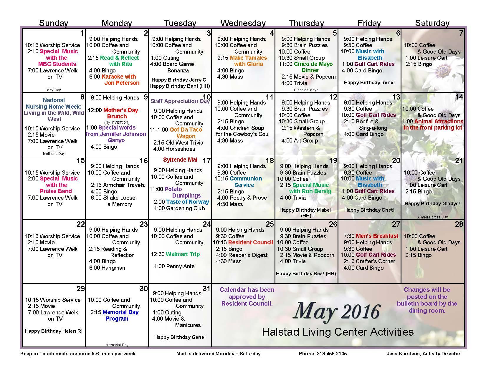 Calendar Ideas For May : Halstad lutheran living center events