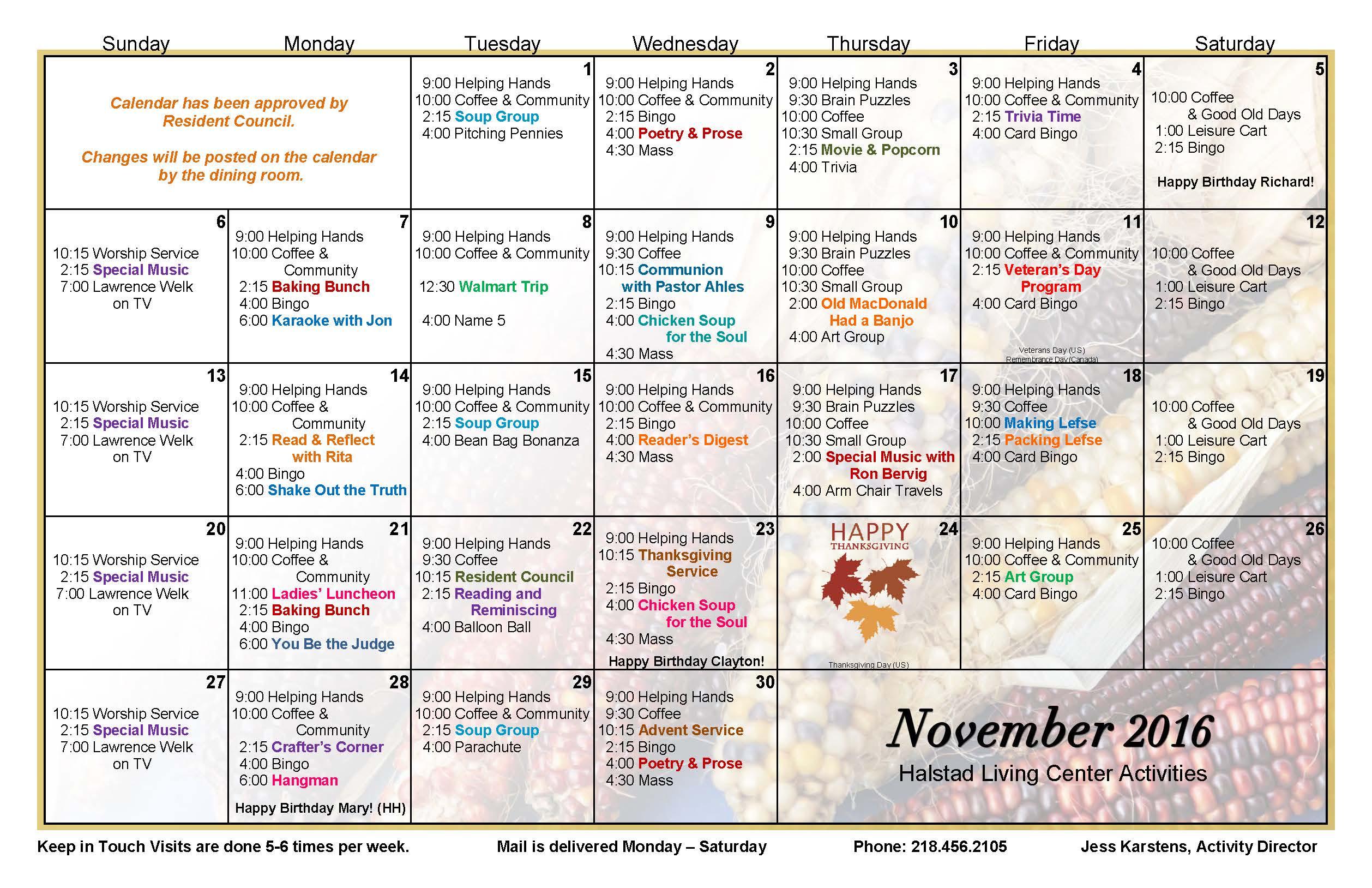 Calendar Ideas For November : Halstad lutheran living center events